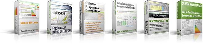 Fogli excel per calcoli termici edifici: epi limite, risparmio energetico, indici di comfort, trasmittanza, prestazione energetica, raccolta dati ape