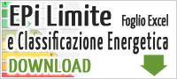 Foglio excel EPi Limite 2010 e classificazione energetica
