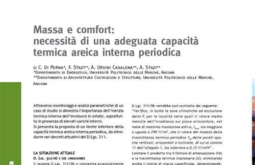 Massa e comfort: necessità di una adeguata capacità termica areica interna periodica
