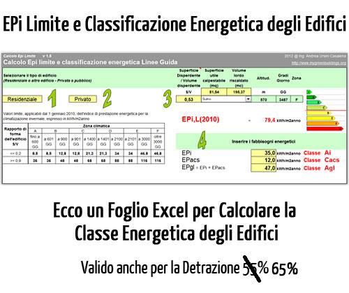 Certificazione energetica edifici: calcolo EPi limite 2012 e Detrazioni 55%