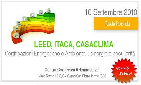 Leed-Itaca-Casa Clima: Congresso su certificazioni energetiche e ambientali
