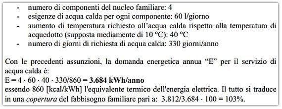 Calcolo copertura pannelli solari termici