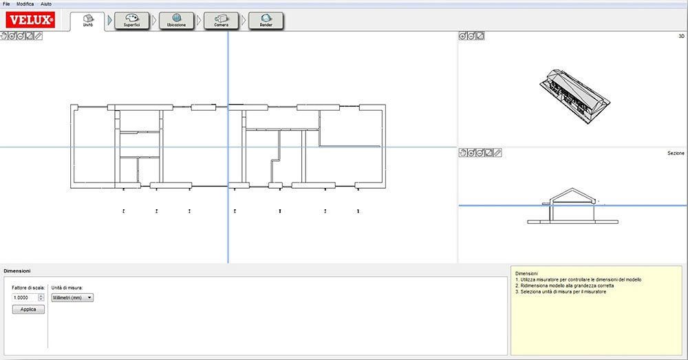 Calcolo illuminazione naturale con software gratuito for Finestre velux misure
