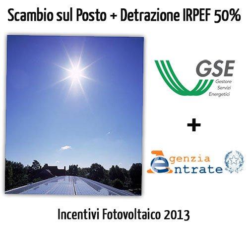 Incentivi Fotovoltaico 2013: Scambio sul Posto più Detrazione Fiscale 50% (36% da Giugno)