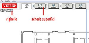 Scheda superfici e righello Velux Daylight Visualizer