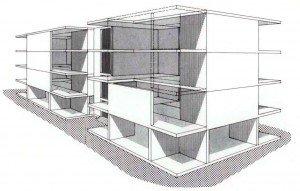 Edificio popolare realizzato con sistema triedro