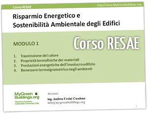 Corso RESAE: risparmio energetico e sostenibilità ambientale degli edifici
